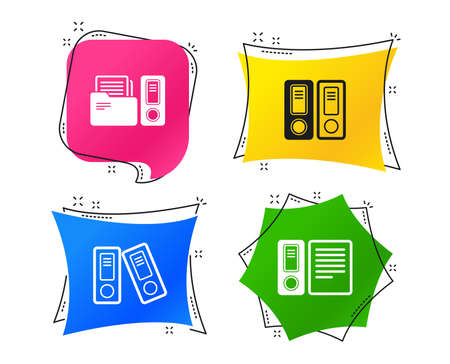 Accounting icons. Document storage in folders sign symbols. Geometric colorful tags. Banners with flat icons. Trendy design. Vector
