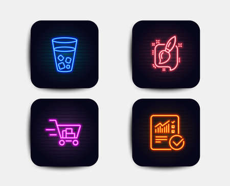 Neon glow lights. Set of Shopping cart, Ice tea and Painting brush icons. Checked calculation sign. Online buying, Soda beverage, Graphic art. Statistical data.  Neon icons. Glowing light banners Reklamní fotografie - 118231864
