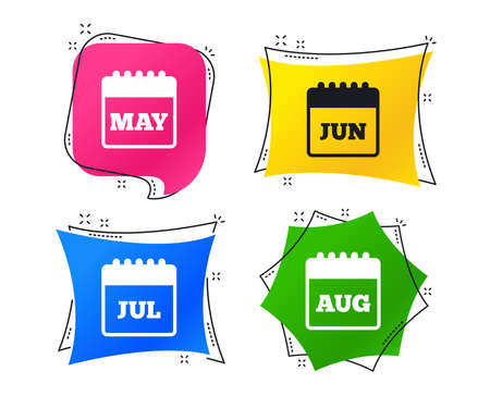 Calendar icons. May, June, July and August month symbols. Date or event reminder sign. Geometric colorful tags. Banners with flat icons. Trendy design. Vector
