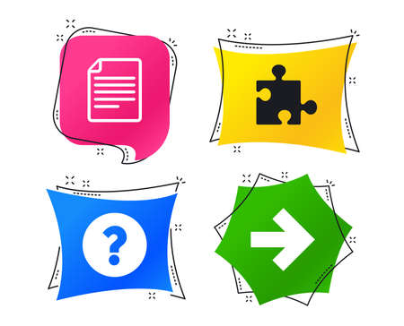 Question mark and puzzle piece icons. Document file and next arrow sign symbols. Geometric colorful tags. Banners with flat icons. Trendy design. Vector Ilustrace