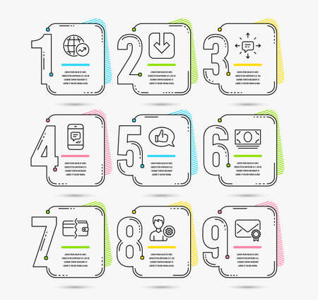 Infographic template with numbers 9 options. Set of Feedback, Load document and World statistics icons. Payment methods, Cash money and Sms signs. Support, Message and Verified mail symbols. Vector Illustration