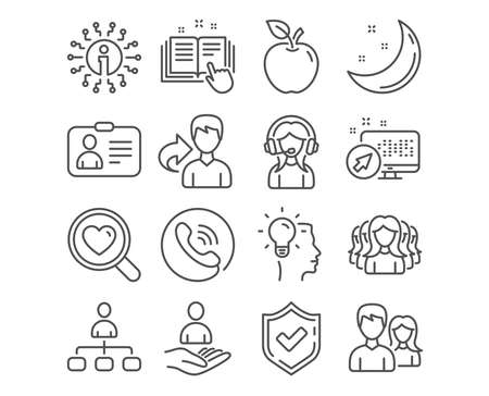 Set of Technical documentation, Management and Idea icons. Id card, Support and Women group signs. Teamwork, Recruitment and Search love symbols. Manual, Agent, Professional job. Vector Illustration