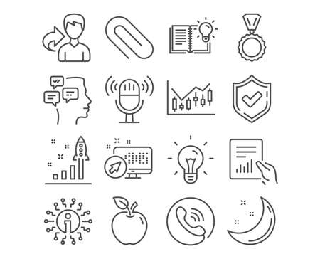 Set of Document, Messages and Financial diagram icons. Microphone, Idea and Development plan signs. Paper clip, Medal and Product knowledge symbols. File with diagram, Notifications, Candlestick chart