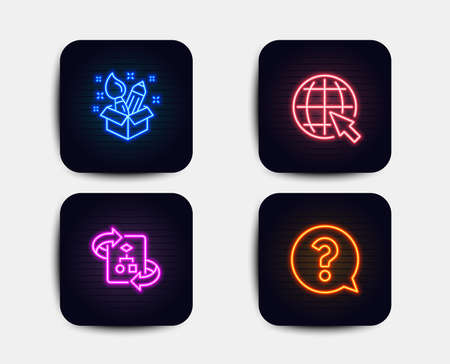 Neon glow lights. Set of Creativity, Internet and Technical algorithm icons. Question mark sign. Design idea, World web, Project doc. Help support.  Neon icons. Glowing light banners. Vector Illustration