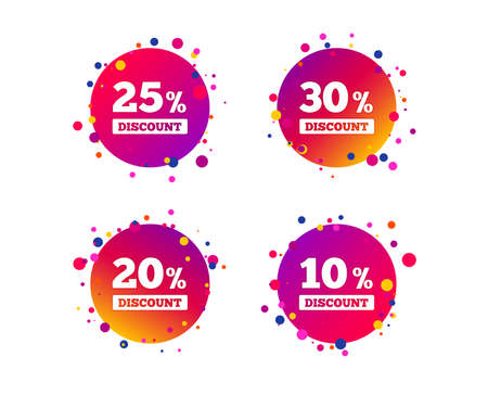 Sale discount icons. Special offer price signs. 10, 20, 25 and 30 percent off reduction symbols. Gradient circle buttons with icons. Random dots design. Vector Çizim
