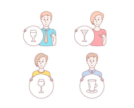 People hand drawn style. Set of Martini glass, Bordeaux glass and Teacup icons. Wine, Brewery beverage, Tea or latte.  Character hold circle button. Man with like hand. Vector Illustration