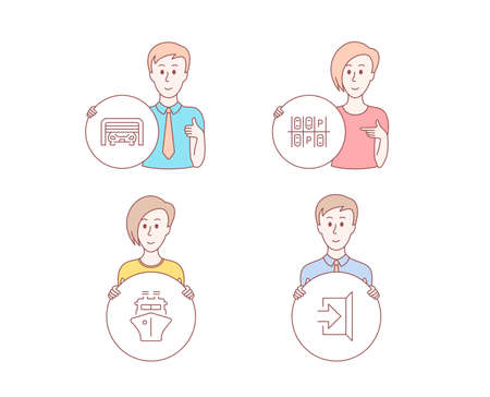 People hand drawn style. Set of Parking place, Parking garage and Ship icons. Exit sign. Transport, Automatic door, Shipping watercraft. Escape.  Character hold circle button. Man with like hand Ilustração