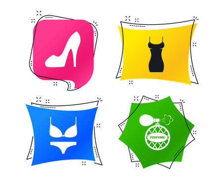 Women dress icon. Sexy shoe sign. Perfume glamour fragrance symbol. Intimates underwear. Geometric colorful tags. Banners with flat icons. Trendy design. Vector