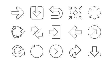 Icônes de flèche. Téléchargez, synchronisez et partagez. Jeu d'icônes linéaire de navigation. Vecteur