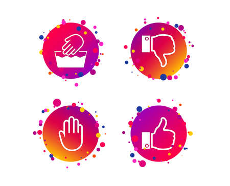 Hand icons. Like and dislike thumb up symbols. Not machine washable sign. Stop no entry. Gradient circle buttons with icons. Random dots design. Vector Vectores