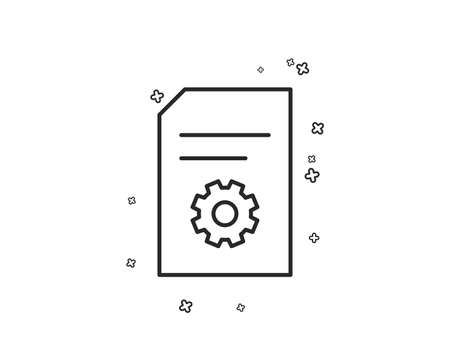 Document Management line icon. Information File with Cogwheel sign. Paper page concept symbol. Geometric shapes. Random cross elements. Linear File Settings icon design. Vector
