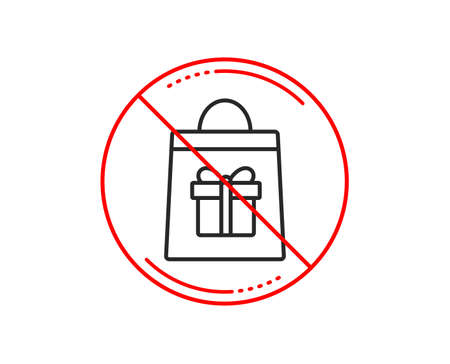 No or stop sign. Shopping bag with Gift box line icon. Present or Sale sign. Birthday Shopping symbol. Package in Gift Wrap. Caution prohibited ban stop symbol. No  icon design.  Vector Illustration