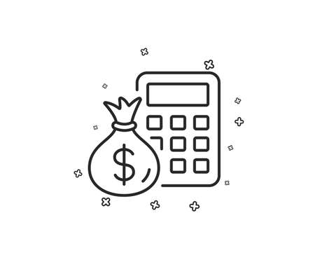 Calculator with money bag line icon. Accounting sign. Calculate finance symbol. Geometric shapes. Random cross elements. Linear Finance Calculator icon design. Vector Ilustracja