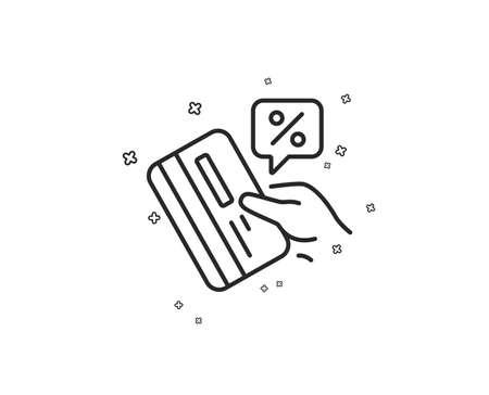 Credit card percent line icon. Discount sign. Loan percentage symbol. Geometric shapes. Random cross elements. Linear Credit card icon design. Vector