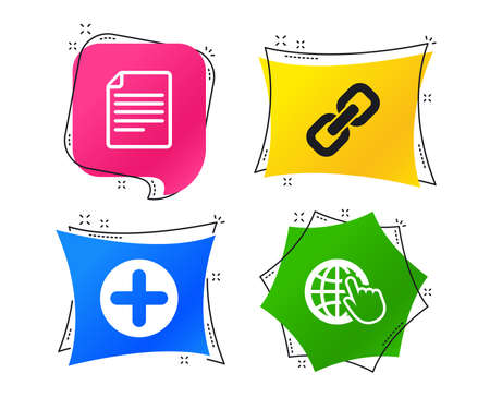 Plus add circle and hyperlink chain icons. Document file and globe with hand pointer sign symbols. Geometric colorful tags. Banners with flat icons. Trendy design. Vector