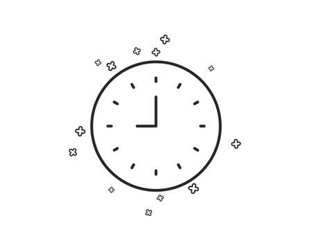 Clock line icon. Time sign. Office Watch or Timer symbol. Geometric shapes. Random cross elements. Linear Clock icon design. Vector Illustration
