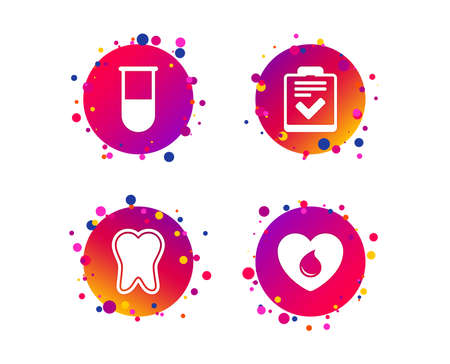 Medical icons. Tooth, test tube, blood donation and checklist signs. Laboratory equipment symbol. Dental care. Gradient circle buttons with icons. Random dots design. Vector Standard-Bild - 118231912