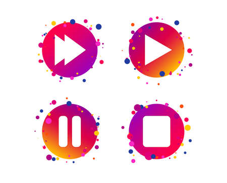 Player navigation icons. Play, stop and pause signs. Next song symbol. Gradient circle buttons with icons. Random dots design. Vector