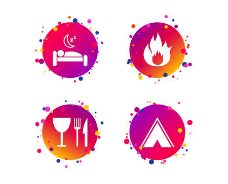Food, sleep, camping tent and fire icons. Knife, fork and wineglass. Hotel or bed and breakfast. Road signs. Gradient circle buttons with icons. Random dots design. Vector