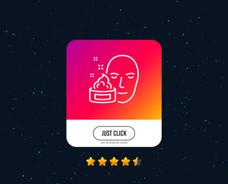 Face cream line icon. Skin care lotion sign. Cosmetics symbol. Web or internet line icon design. Rating stars. Just click button. Vector