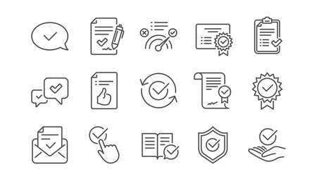 Aprobar iconos de línea. Lista de verificación, certificado y medalla de premio. Pulgar hacia arriba conjunto de iconos lineal de documento certificado. Vector Ilustración de vector