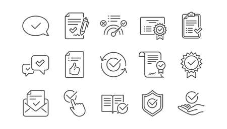 Approve line icons. Checklist, Certificate and Award medal. Thumbs up certified document linear icon set.  Vector