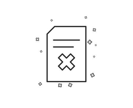 Remove Document line icon. Delete Information File sign. Paper page concept symbol. Geometric shapes. Random cross elements. Linear Delete file icon design. Vector