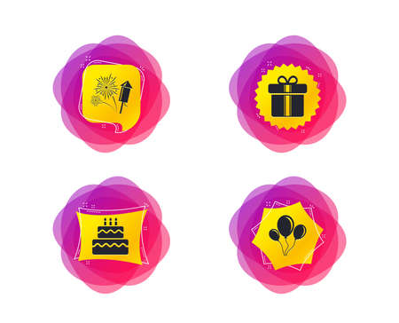 Birthday party icons. Cake and gift box signs. Air balloons and fireworks symbol. Geometric gradient sales shapes. Creative banners. Template for design. Vector Иллюстрация