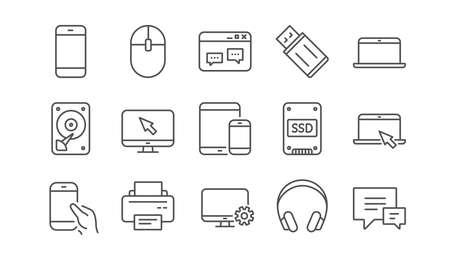 Device line icons. Laptop, SSD and Headphones. Printer linear icon set.  Vector