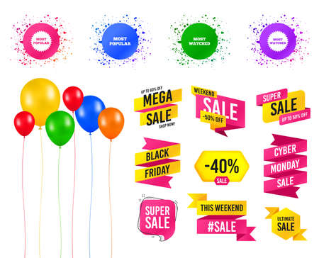 Balloons party. Sales banners. Most popular star icon. Most watched symbols. Clients or users choice signs. Birthday event. Trendy design. Vector 일러스트