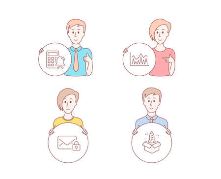 People hand drawn style. Set of Calculator alarm, Secure mail and Investment icons. Startup sign. Accounting, Private e-mail, Economic statistics. Innovation.  Character hold circle button. Vector