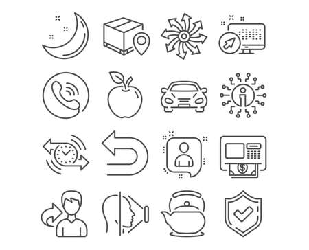 Set of Undo, Atm and Parcel tracking icons. Versatile, Teapot and Developers chat signs. Car, Timer and Face id symbols. Left turn, Money withdraw, Package location pin. Vector