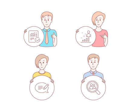 People hand drawn style. Set of Checked calculation, Message and Stats icons. Search employees sign. Statistical data, Speech bubble, Business analysis. Staff analysis.  Character hold circle button