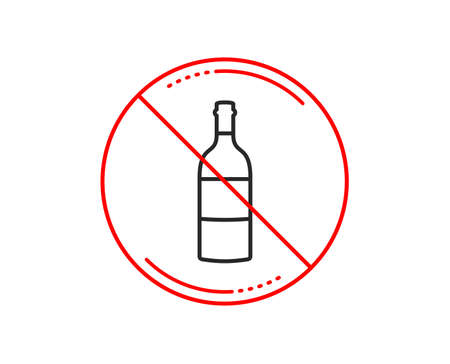 No or stop sign. Wine bottle line icon.  Caution prohibited ban stop symbol. No  icon design.  Vector