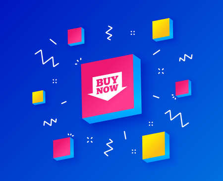 Buy now sign icon. Online buying arrow button. Isometric cubes with geometric shapes. Creative shopping banners. Template for design. Vector Illustration