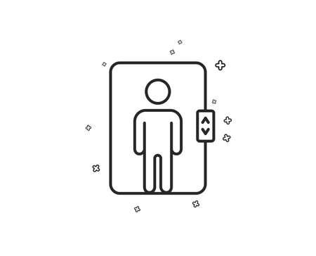 Icône de ligne d'ascenseur. Signe d'ascenseur de transport. Formes géométriques. Éléments croisés aléatoires. Conception d'icône d'ascenseur linéaire. Vecteur Vecteurs