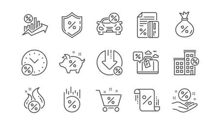Iconos de línea de préstamo. Diagrama de Inversión, Tasa de Interés y Porcentaje. Conjunto de iconos lineales de alquiler de coches. Vector Ilustración de vector