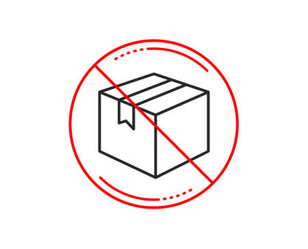 No or stop sign. Shipping box line icon. Logistics delivery sign. Parcels tracking symbol. Caution prohibited ban stop symbol. No  icon design.  Vector Illusztráció