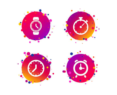 Mechanical clock time icons. Stopwatch timer symbol. Wake up alarm sign. Gradient circle buttons with icons. Random dots design. Vector