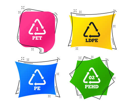 PET, Ld-pe and Hd-pe icons. High-density Polyethylene terephthalate sign. Recycling symbol. Geometric colorful tags. Banners with flat icons. Trendy design. Vector Çizim