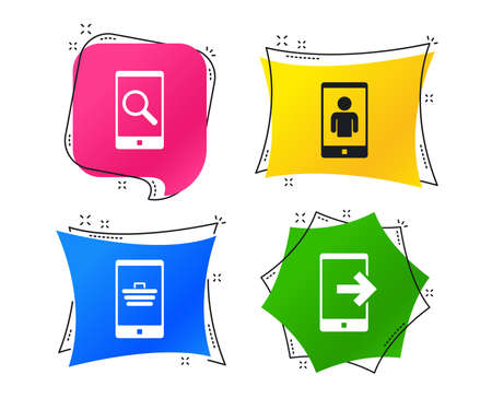Phone icons. Smartphone video call sign. Search, online shopping symbols. Outcoming call. Geometric colorful tags. Banners with flat icons. Trendy design. Vector