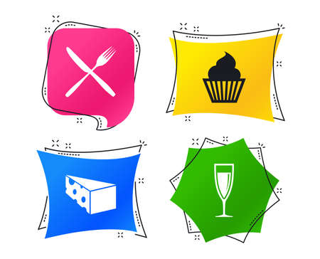 Food icons. Muffin cupcake symbol. Fork and knife sign. Glass of champagne or wine. Slice of cheese. Geometric colorful tags. Banners with flat icons. Trendy design. Vector Ilustração