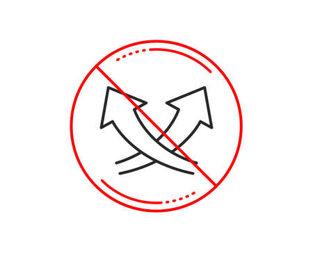 No or stop sign. Intersection arrows line icon. Exchange and turn, cross sign. Caution prohibited ban stop symbol. No  icon design.  Vector