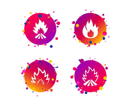 Fire flame icons. Heat symbols. Inflammable signs. Gradient circle buttons with icons. Random dots design. Vector