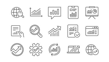 Analytics line icons. Reports, Charts and Graphs. Data statistics linear icon set.  Vector Stock Illustratie