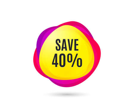 Save 40% off. Sale Discount offer price sign. Special offer symbol. Gradient sales tag. Abstract shopping banner. Template for design. Vector