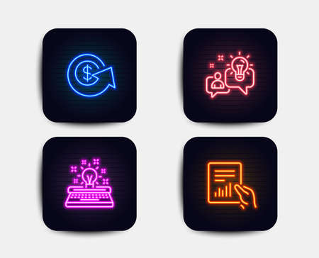 Neon glow lights. Set of Dollar exchange, Idea and Typewriter icons. Document sign. Money refund, Solution, Inspiration. File with diagram.  Neon icons. Glowing light banners. Vector