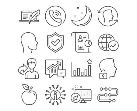 Set of World statistics, Copyright laptop and Accounting icons. Head, Face id and Efficacy signs. Report, Methodology and Unlock system symbols. Global report, Writer device, Supply and demand