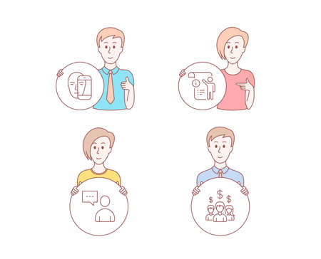 People hand drawn style. Set of Users chat, Face biometrics and Manual doc icons. Salary employees sign. Communication concept, Facial recognition, Project info. People earnings. Vector Иллюстрация