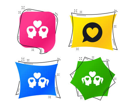 Couple love icon. Lesbian and Gay lovers signs. Romantic relationships. Speech bubble with heart symbol. Geometric colorful tags. Banners with flat icons. Trendy design. Vector